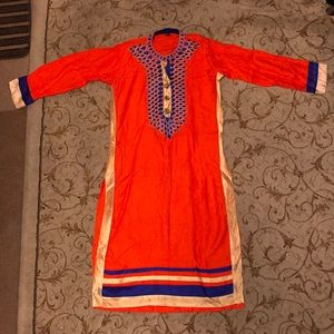 Orange and Blue Indian Kurti